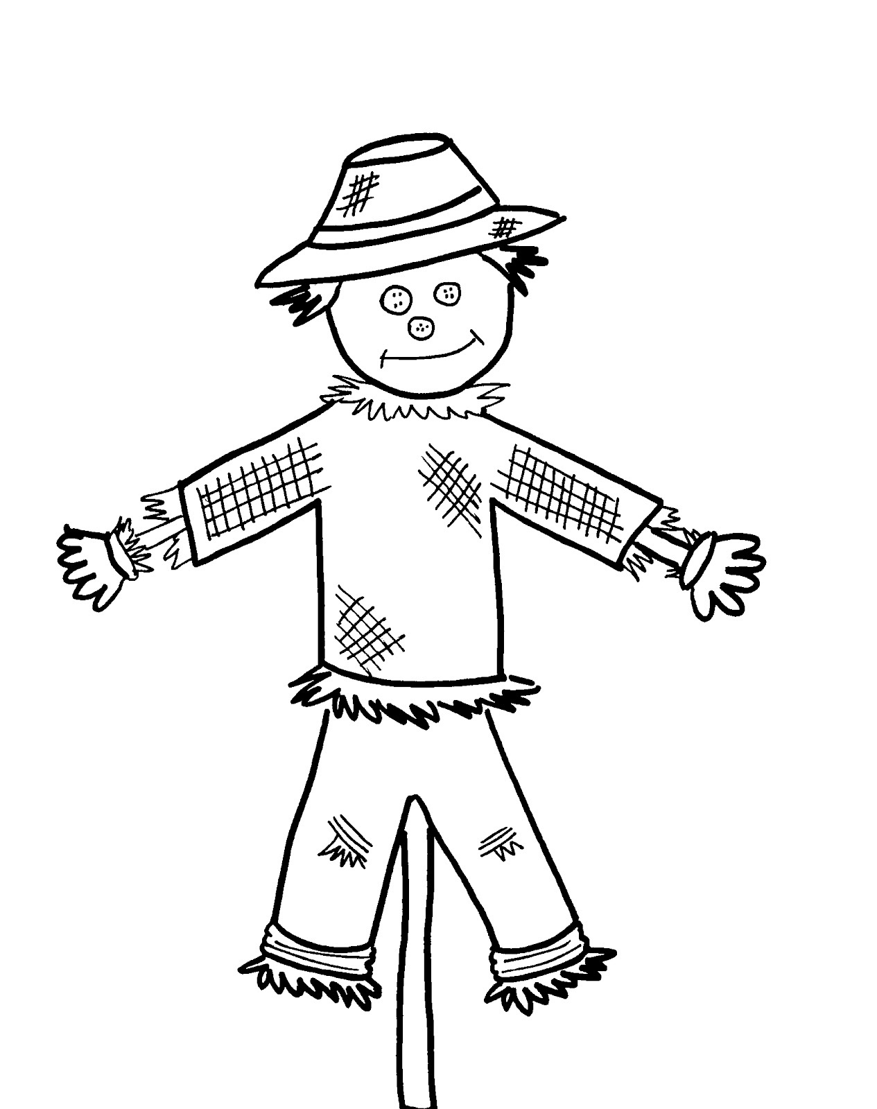 Scarecrow clipart black and white, Scarecrow black and ...