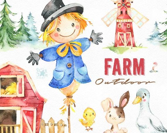 Farm outdoor watercolor bunny. Scarecrow clipart country