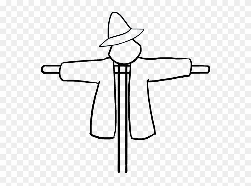 How to draw drawing. Scarecrow clipart drawn