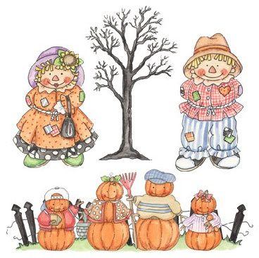 sz autumn decoupage. Scarecrow clipart family