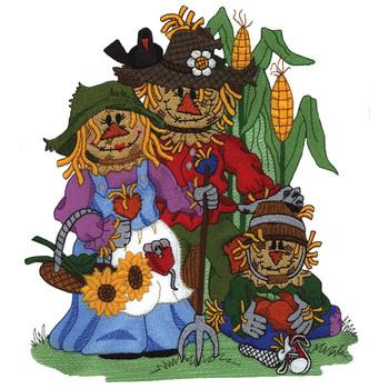 Scarecrow clipart family. Embroidery design