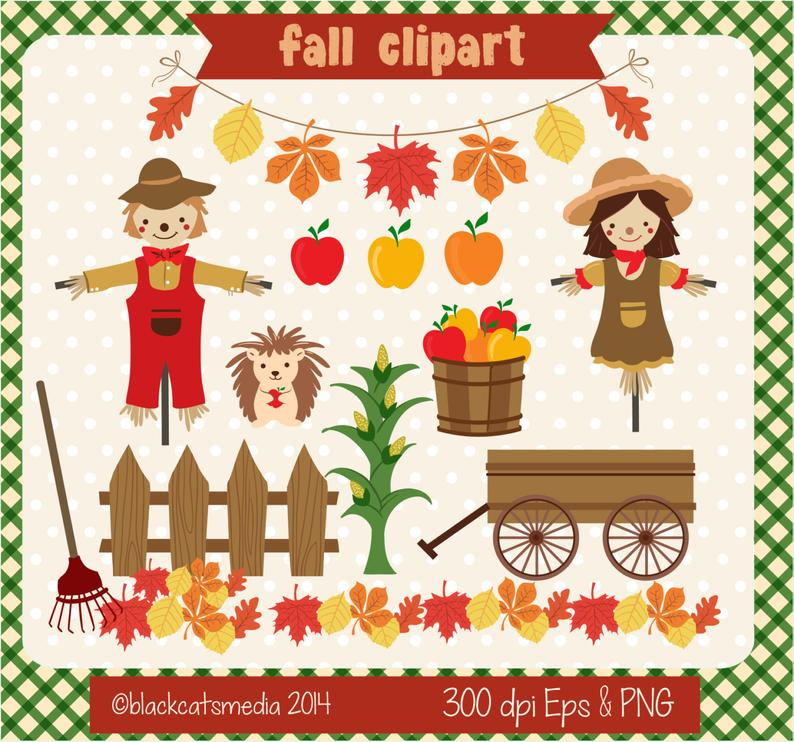 Fall scarecrows apples carriage. Scarecrow clipart fence