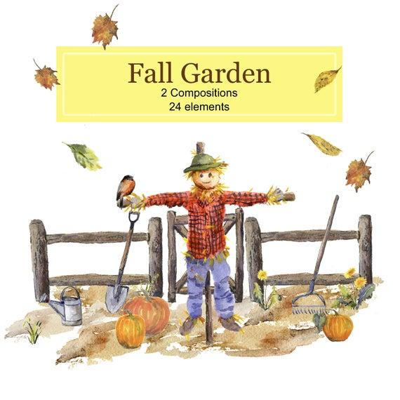 Fall garden themed collection. Scarecrow clipart fence