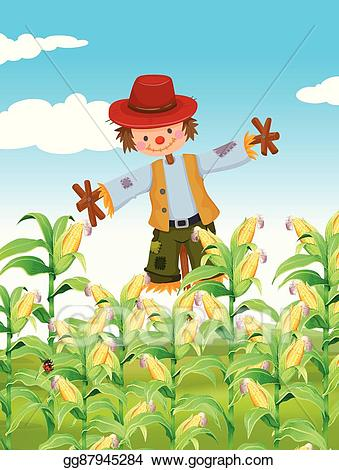 Scarecrow clipart field clipart. Eps illustration standing in