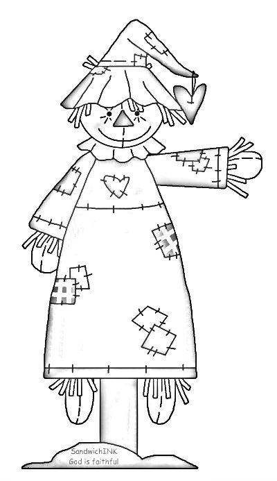 Scarecrow clipart fun. A and coloring page