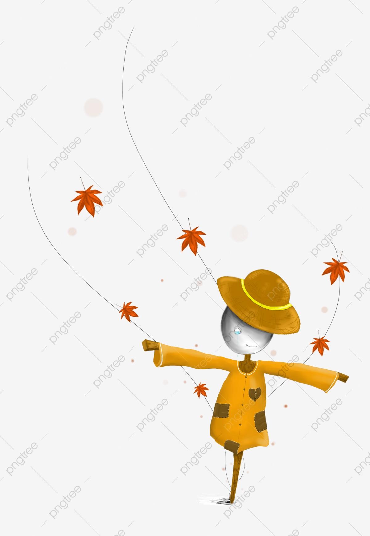 Hand painted fall orange. Scarecrow clipart sad