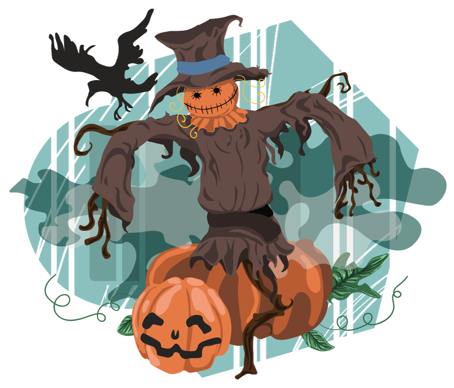 Scarecrow clipart scarecrow costume. Free halloween scene pages