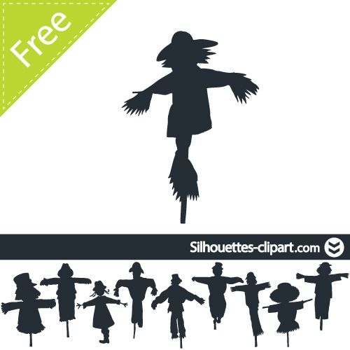 Vector silhouettes school . Scarecrow clipart silhouette