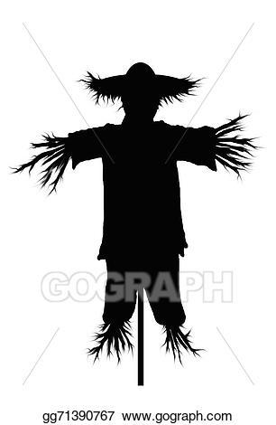 Scarecrow clipart silhouette. Stock illustration