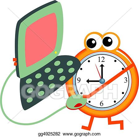 Schedule clipart computer time. Stock illustration gg gograph