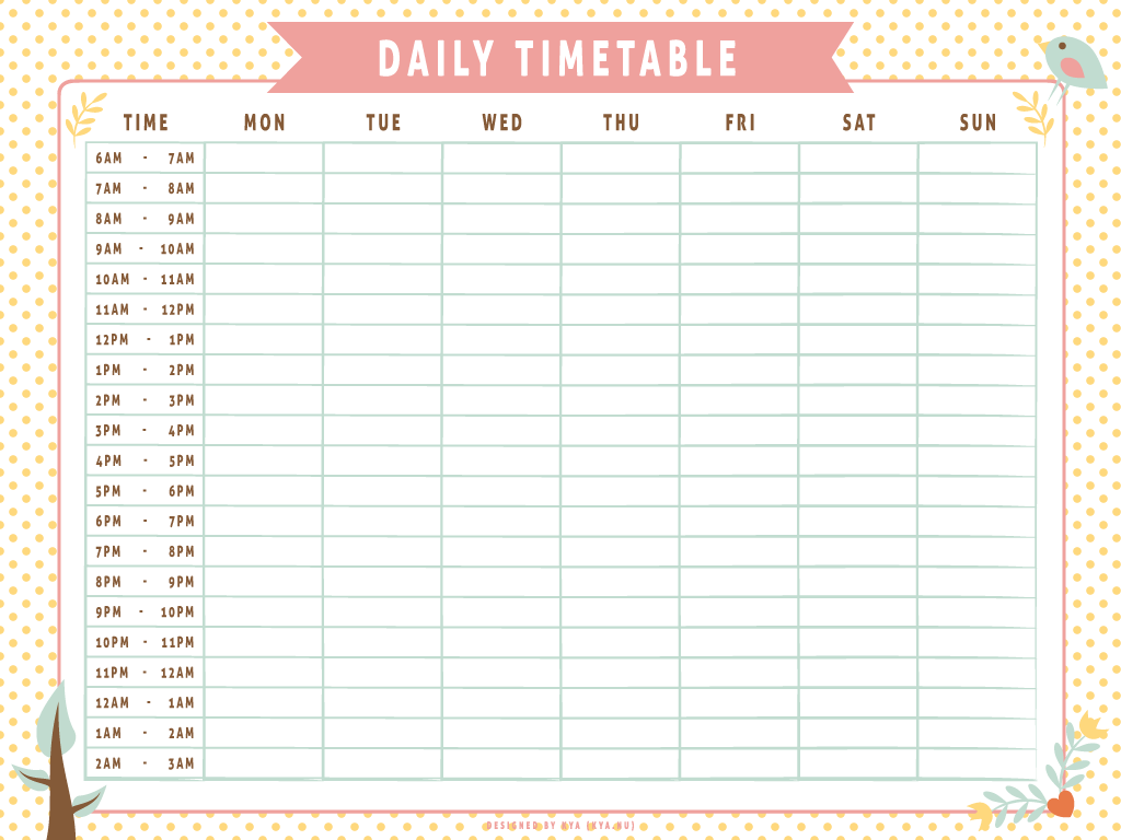Timtable template romeo landinez. Schedule clipart daily plan