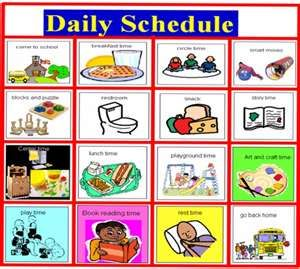Daily visual support supports. Schedule clipart daycare