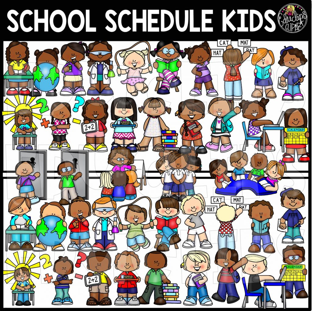 School kids clip art. Schedule clipart different