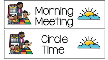 Daily cards with pictures. Schedule clipart kindergarten