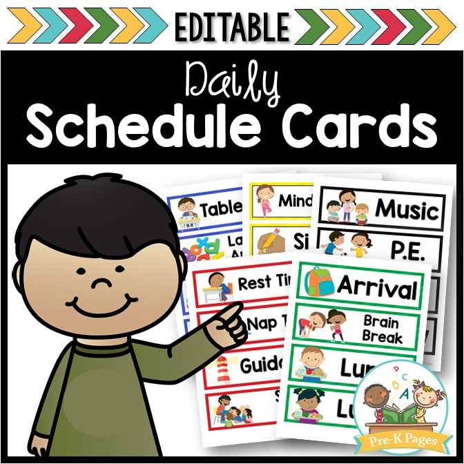 Schedule clipart life. Editable picture cards pre