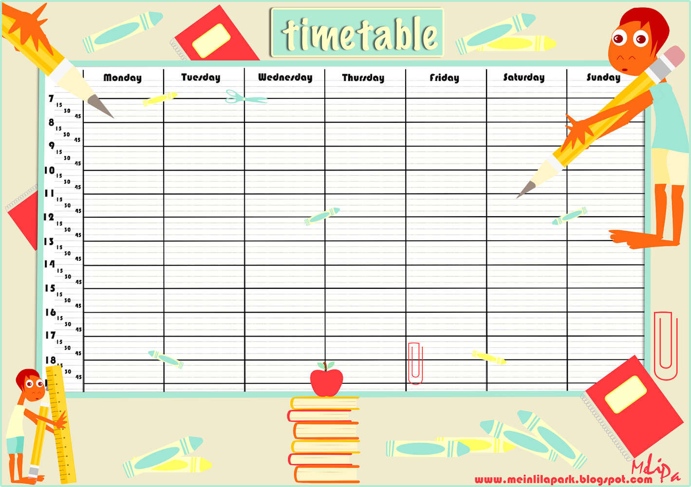 Schedule clipart printable. Free school timetable and