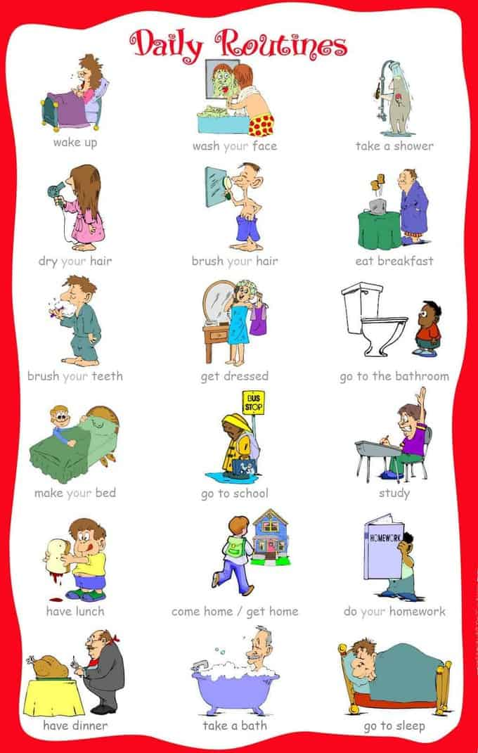 visual picture schedules. Schedule clipart printable