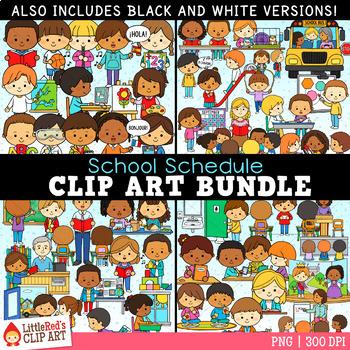 School clip art bundle. Schedule clipart teacher's