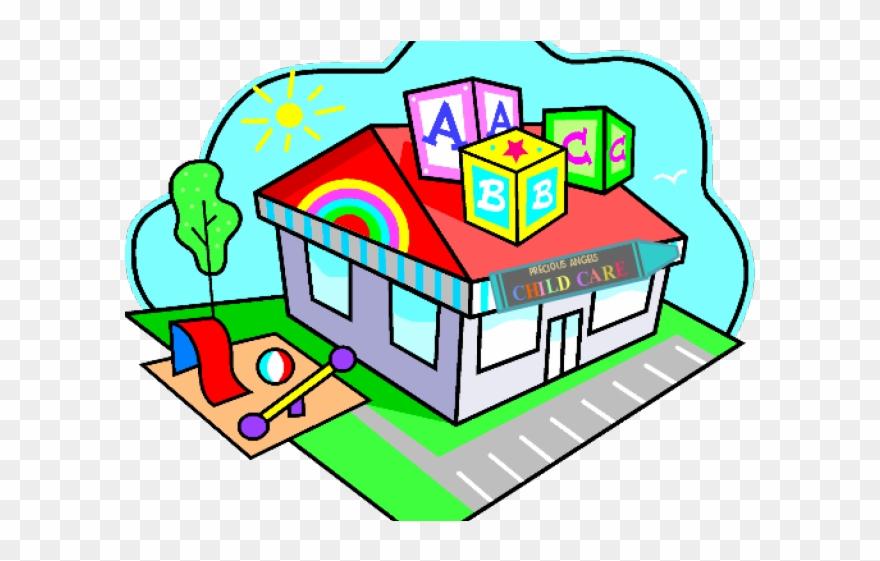 Building pre school child. Schoolhouse clipart day care center