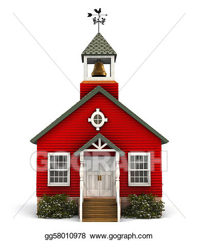 Schoolhouse clipart little red schoolhouse. Stock illustration facade drawing
