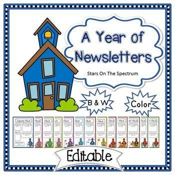 Schoolhouse clipart preschool newsletter. Editable template teacher s