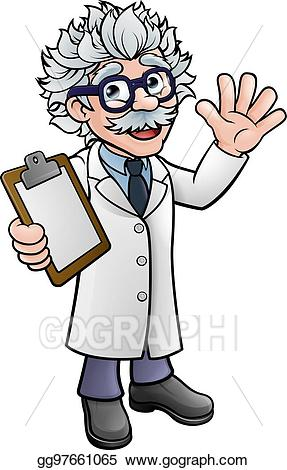 Scientist clipart clipboard clipart. Vector stock cartoon professor