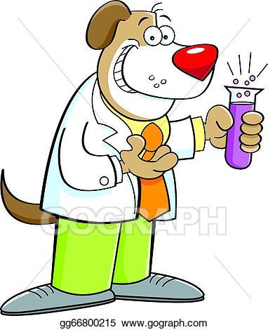 Eps illustration cartoon holding. Scientist clipart dog