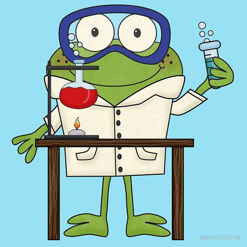 Doing science experiments in. Scientist clipart frog