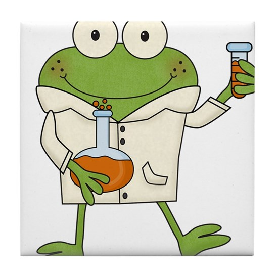 Scientist clipart frog. Tile coaster