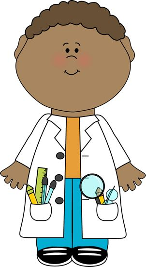 Child clip art image. Scientist clipart life science