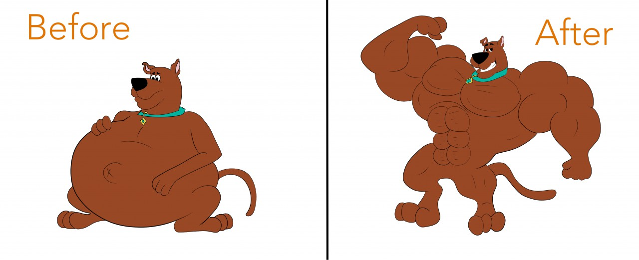 Scooby doo clipart muscular. Muscle growth by buffwolf