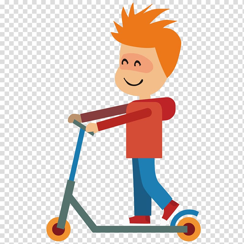 Kick boy transparent background. Scooter clipart animated