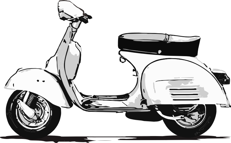 Medium image png . Scooter clipart black and white