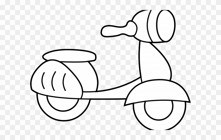 Scooter clipart black and white. Coloring page
