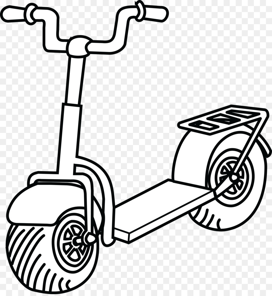 Line art png download. Scooter clipart black and white