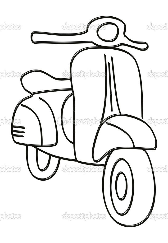 Scooter clipart black and white. Station