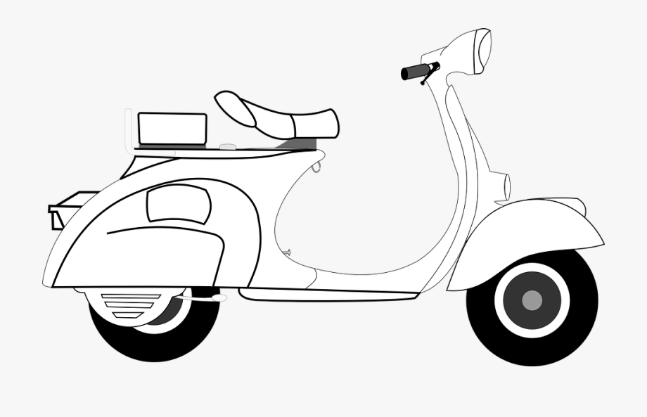 Scooter clipart black and white. Svg