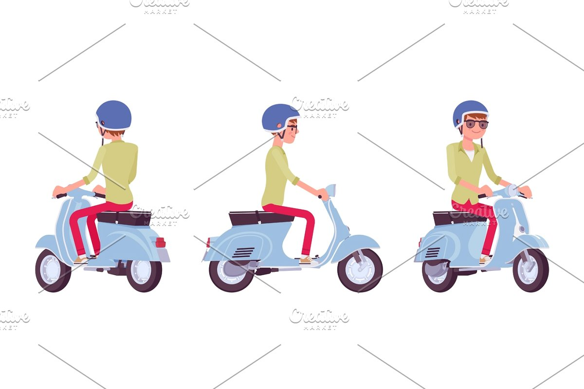 Handsome young man riding. Scooter clipart blue object