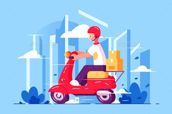 Scooter clipart blue object. Man courier driving on