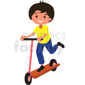 Boy riding royalty free. Scooter clipart cartoon