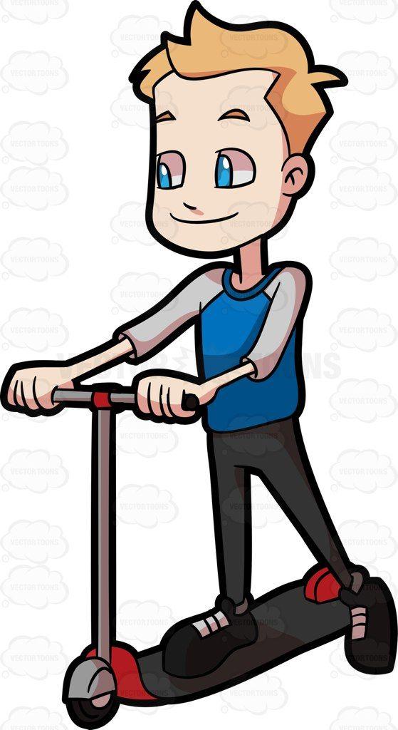 A preadolescent boy riding. Scooter clipart cartoon