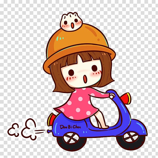 Girl riding motor illustration. Scooter clipart cute