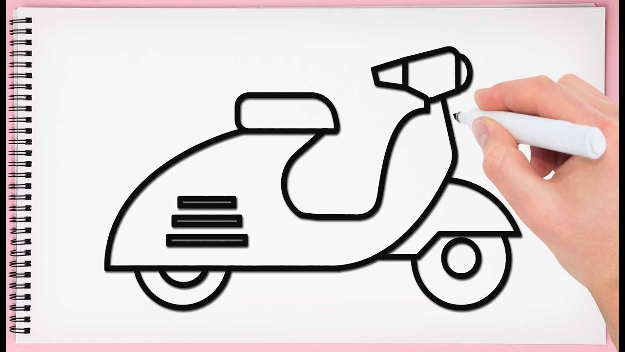 How to draw a. Scooter clipart drawing