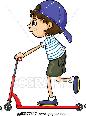 Vector stock a boy. Scooter clipart kid