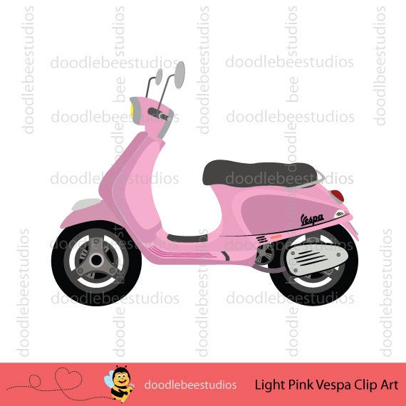 Items similar to vespa. Scooter clipart pink scooter