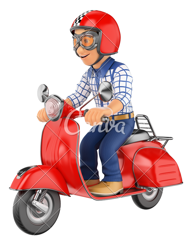 d teenager riding. Scooter clipart red scooter