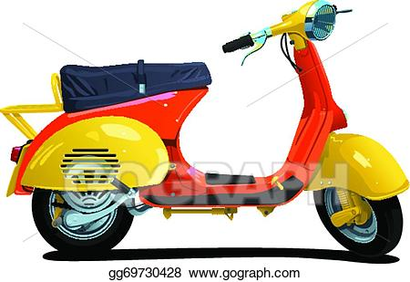 Vector art eps gg. Scooter clipart retro scooter