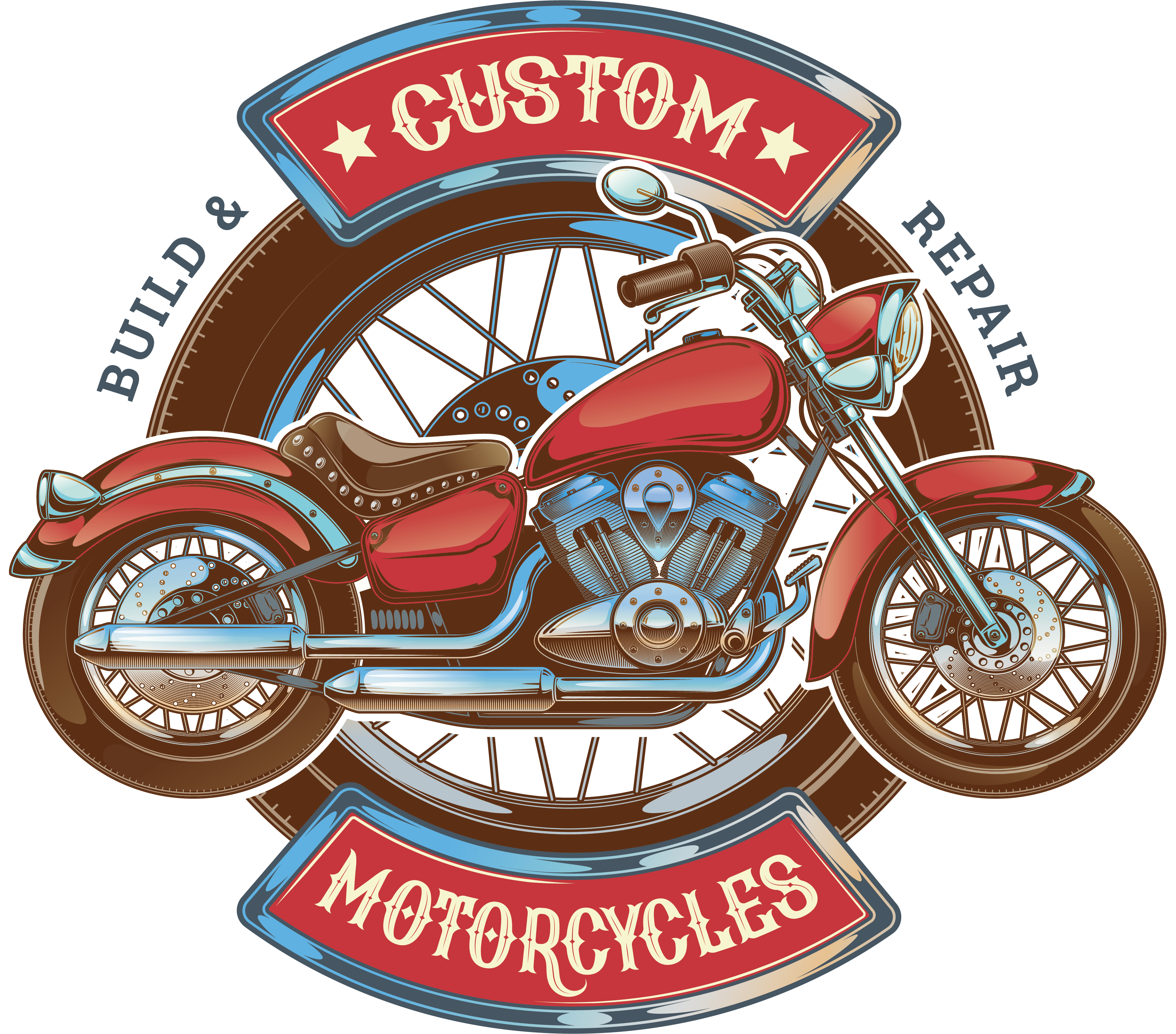 Motorcycle car logo red. Scooter clipart retro scooter