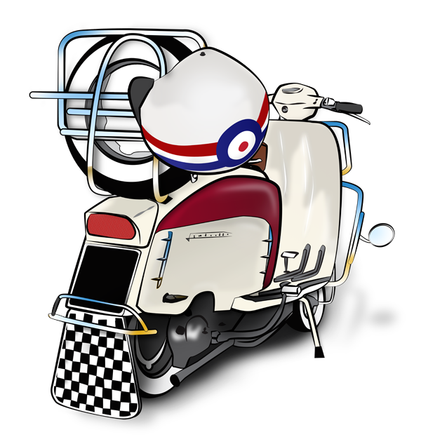Mod and scooterist artwork. Scooter clipart scooter lambretta