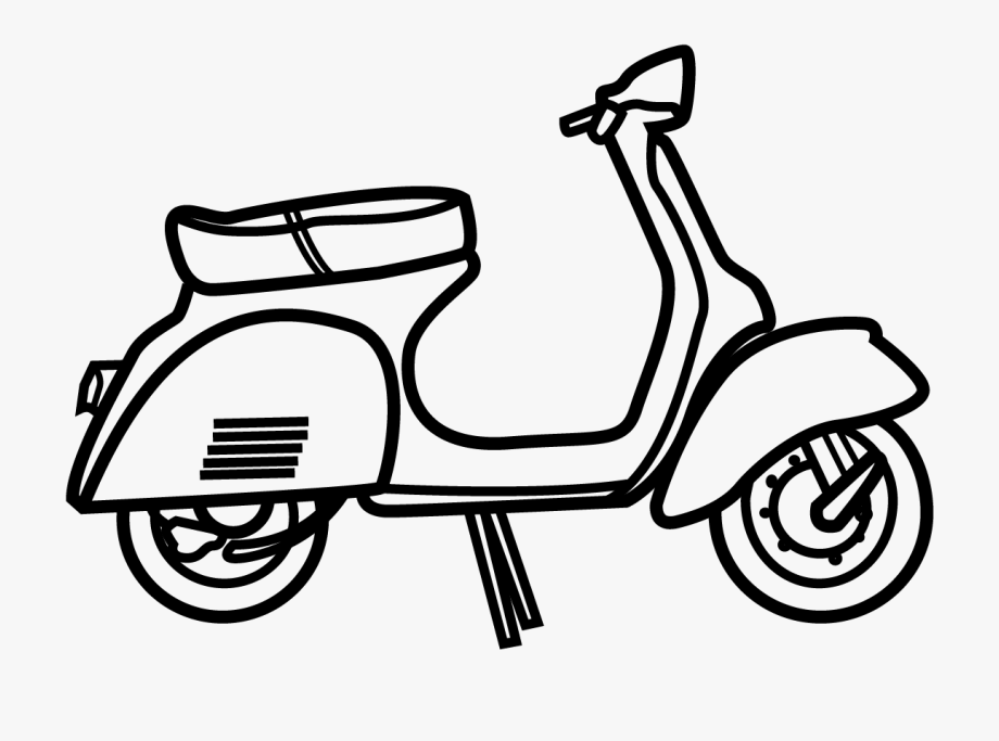 Vespa black and white. Scooter clipart scooter line
